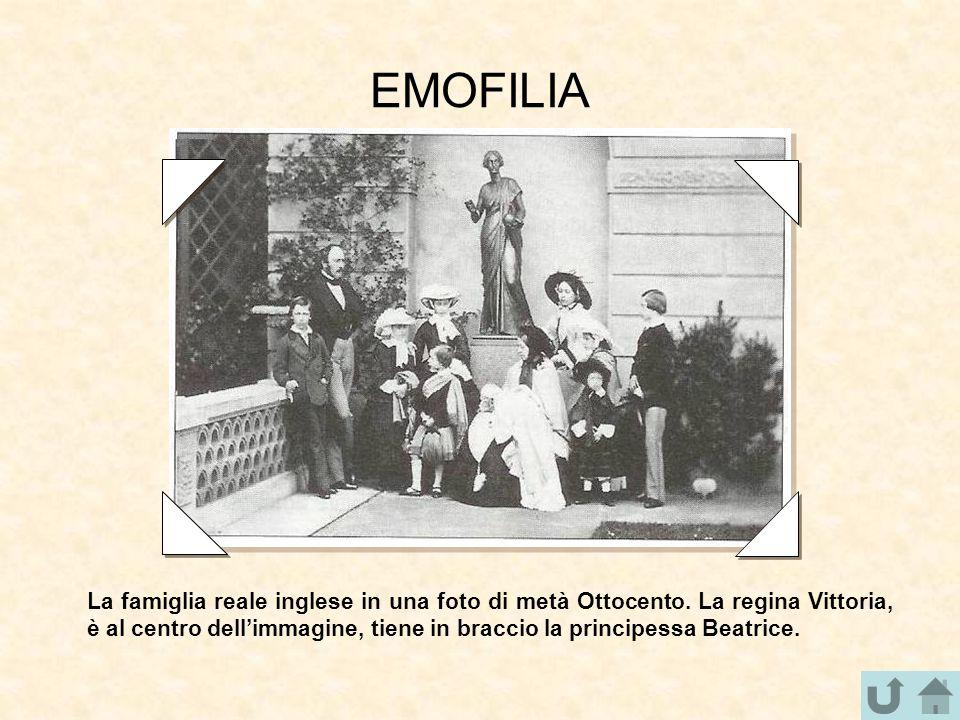 EMOFILIA La famiglia reale inglese in una foto di metà Ottocento. La regina Vittoria, è al centro dell'immagine, tiene in braccio la principessa Beatr
