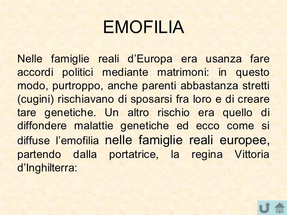 EMOFILIA Nelle famiglie reali d'Europa era usanza fare accordi politici mediante matrimoni: in questo modo, purtroppo, anche parenti abbastanza strett