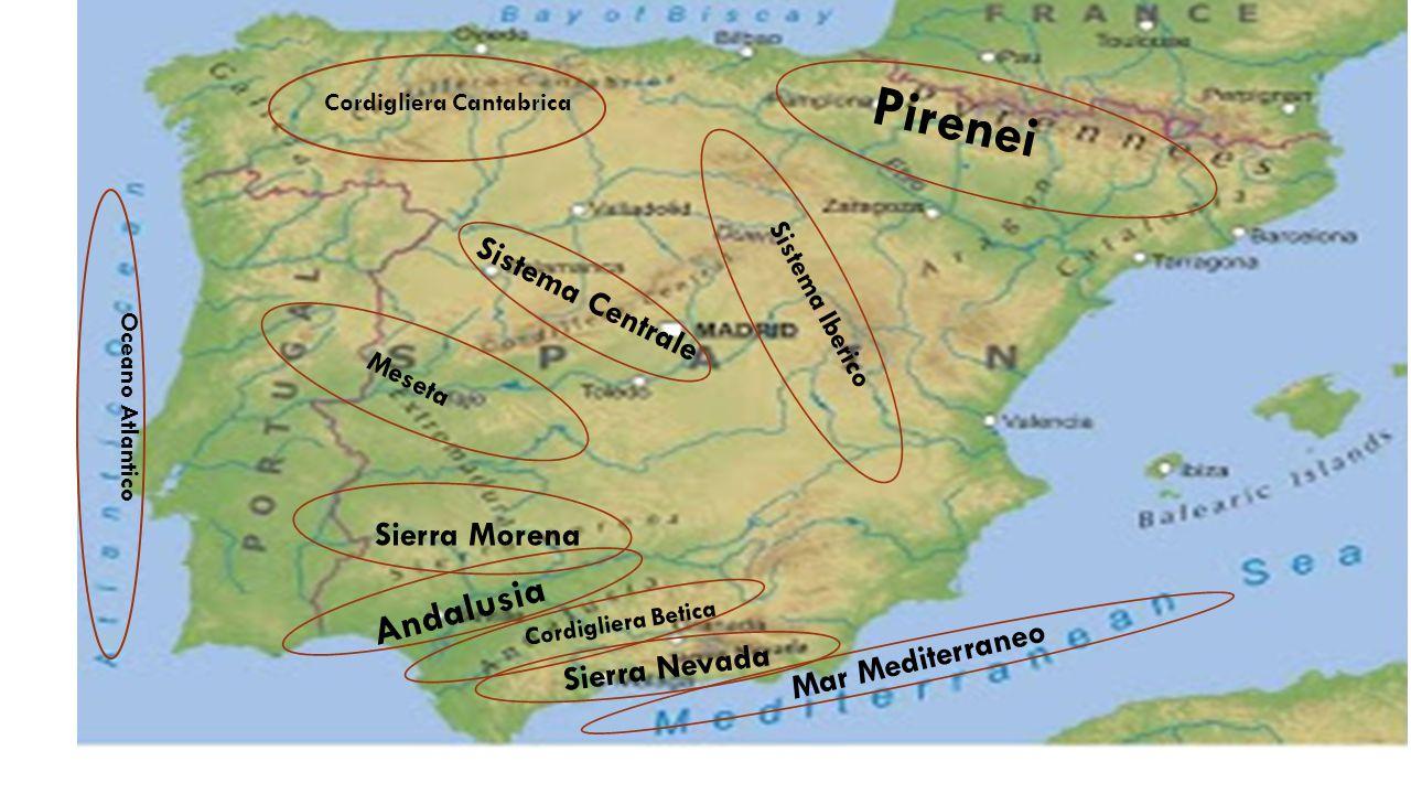 Cordigliera Cantabrica Pirenei Sierra Morena Sierra Nevada Sistema Centrale Andalusia Sistema Iberico Meseta Cordigliera Betica Oceano Atlantico Mar M