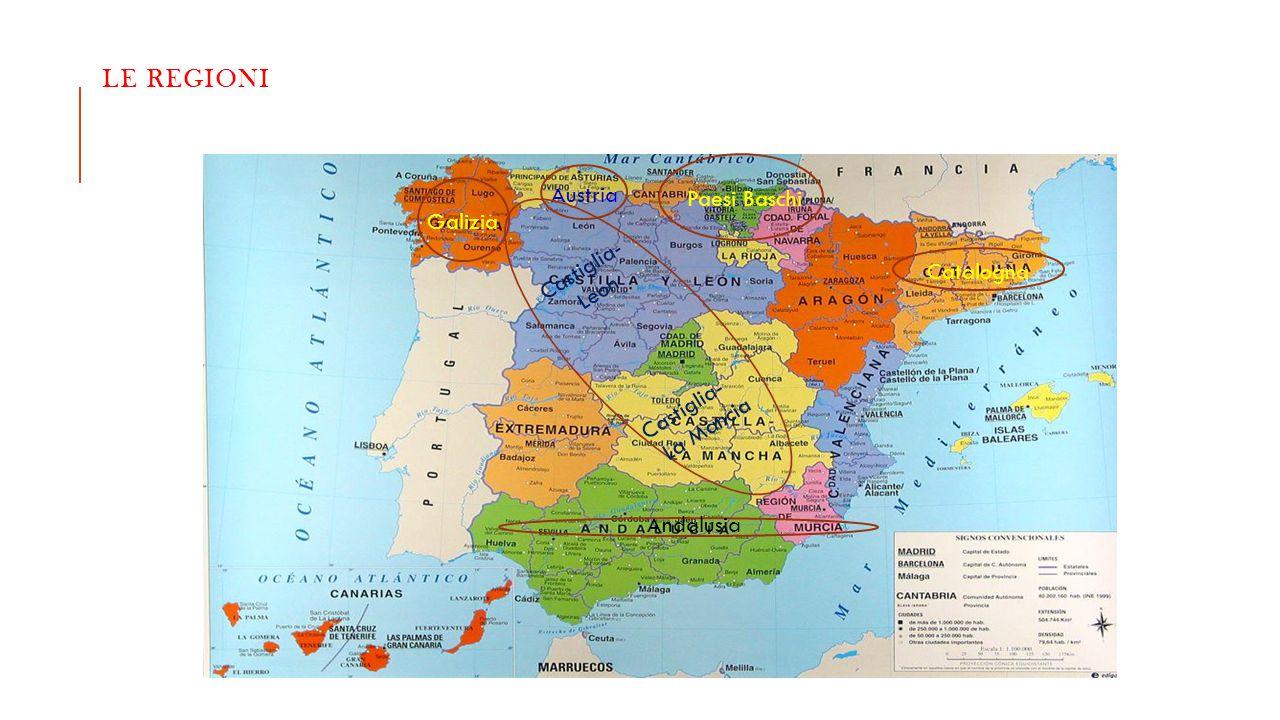 LE REGIONI Galizia Austria Paesi Baschi Catalogna Castiglia- Leon Castiglia- La Mancia Andalusia