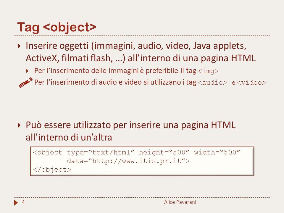 Tag 4  Inserire oggetti (immagini, audio, video, Java applets, ActiveX, filmati flash, …) all'interno di una pagina HTML  Per l'inserimento delle immagini è preferibile il tag  Per l'inserimento di audio e video si utilizzano i tag e  Può essere utilizzato per inserire una pagina HTML all'interno di un'altra Alice Pavarani <object type= text/html height= 500 width= 500 data= http://www.itis.pr.it >