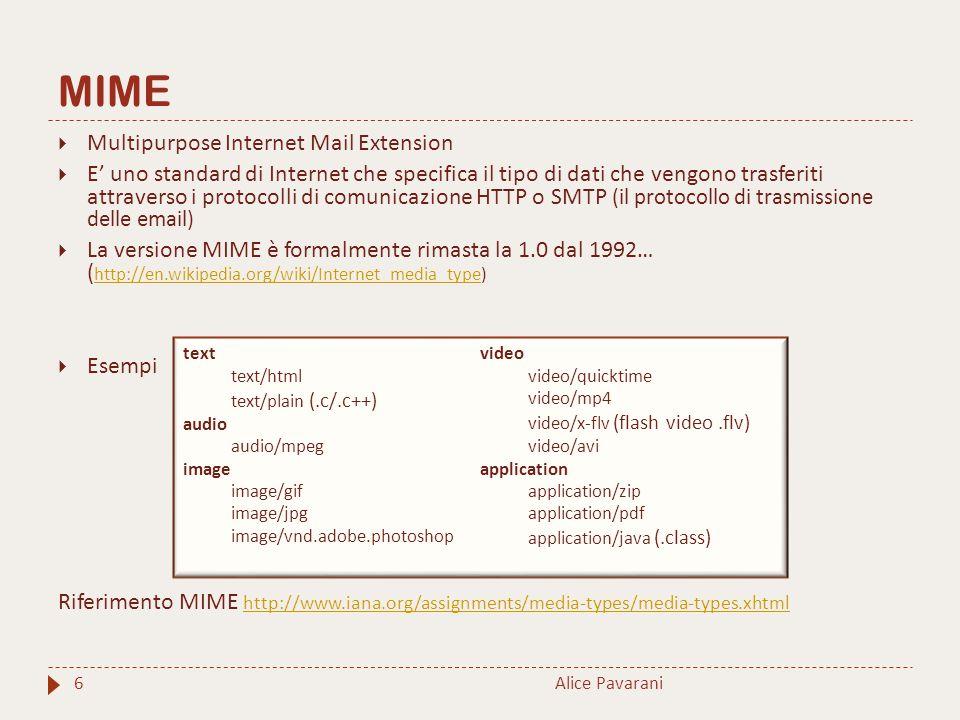 MIME Alice Pavarani6  Multipurpose Internet Mail Extension  E' uno standard di Internet che specifica il tipo di dati che vengono trasferiti attraverso i protocolli di comunicazione HTTP o SMTP (il protocollo di trasmissione delle email)  La versione MIME è formalmente rimasta la 1.0 dal 1992… ( http://en.wikipedia.org/wiki/Internet_media_type) http://en.wikipedia.org/wiki/Internet_media_type  Esempi Riferimento MIME http://www.iana.org/assignments/media-types/media-types.xhtml http://www.iana.org/assignments/media-types/media-types.xhtml text text/html text/plain (.c/.c++) audio audio/mpeg image image/gif image/jpg image/vnd.adobe.photoshop video video/quicktime video/mp4 video/x-flv (flash video.flv) video/avi application application/zip application/pdf application/java (.class)