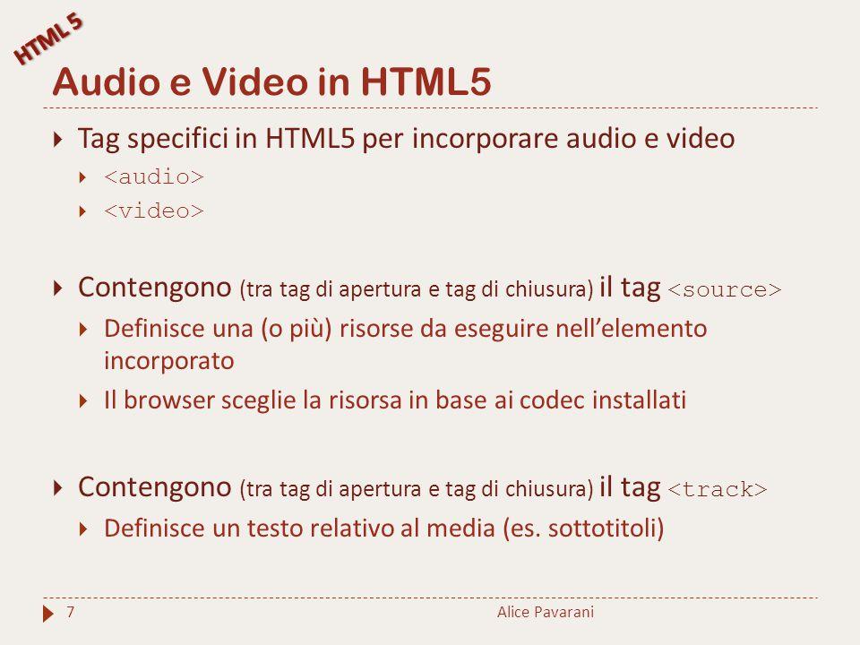 Tag,, Alice Pavarani8  Attributi del tag :  src URL del file della risorsa  type MIME della risorsa specificata nell'attributo src  Attributi del tag : http://www.w3schools.com/tags/tag_audio.asp http://www.w3schools.com/tags/tag_audio.asp  controls inserisce i controlli nel player  Attributi del tag : http://www.w3schools.com/tags/tag_video.asp http://www.w3schools.com/tags/tag_video.asp  height, width altezza e larghezza del video nella pagina  controls inserisce i controlli nel player Il browser non supporta l'elemento audio Il browser non supporta l'elemento video