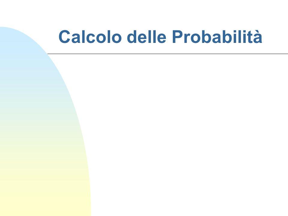 Probabilità n L'interpretazione geometrica L'area complessiva è uguale a 1 L'area di ogni sottoinsieme è sicuramente positiva  11 22 33 44 L'area di un insieme di superfici che non si sovrappongono è la somma delle aree delle singole superfici