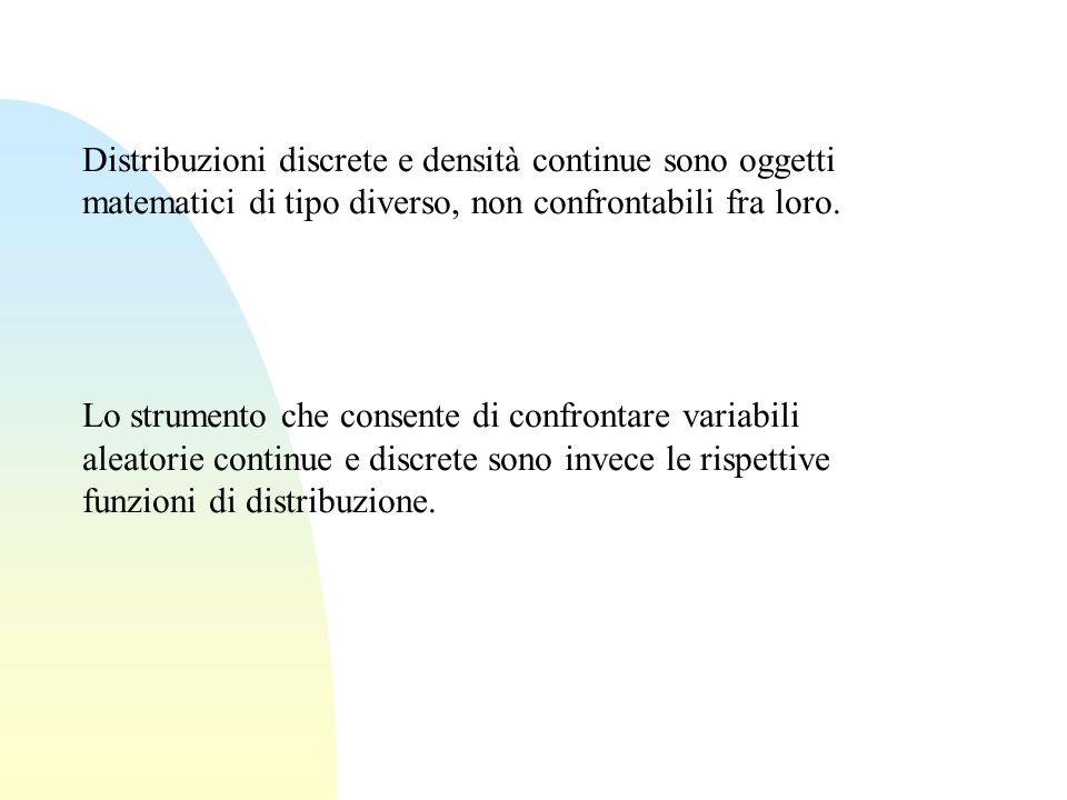 Distribuzioni discrete e densità continue sono oggetti matematici di tipo diverso, non confrontabili fra loro.