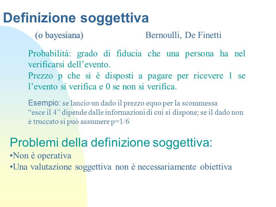 Definizione soggettiva (o bayesiana) (o bayesiana) Bernoulli, De Finetti Probabilità: grado di fiducia che una persona ha nel verificarsi dell'evento.