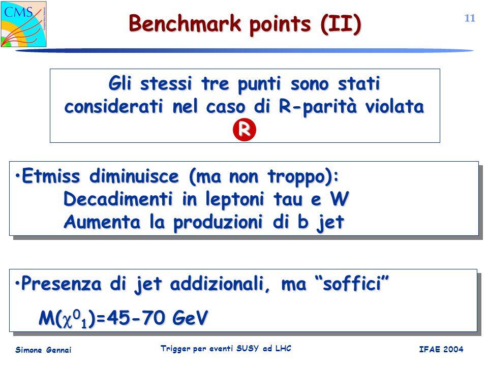 11 Simone Gennai Trigger per eventi SUSY ad LHC IFAE 2004 Benchmark points (II) Gli stessi tre punti sono stati considerati nel caso di R-parità violata R Etmiss diminuisce (ma non troppo): Decadimenti in leptoni tau e W Aumenta la produzioni di b jetEtmiss diminuisce (ma non troppo): Decadimenti in leptoni tau e W Aumenta la produzioni di b jet Presenza di jet addizionali, ma soffici Presenza di jet addizionali, ma soffici M(  0 1 )=45-70 GeV Presenza di jet addizionali, ma soffici Presenza di jet addizionali, ma soffici M(  0 1 )=45-70 GeV
