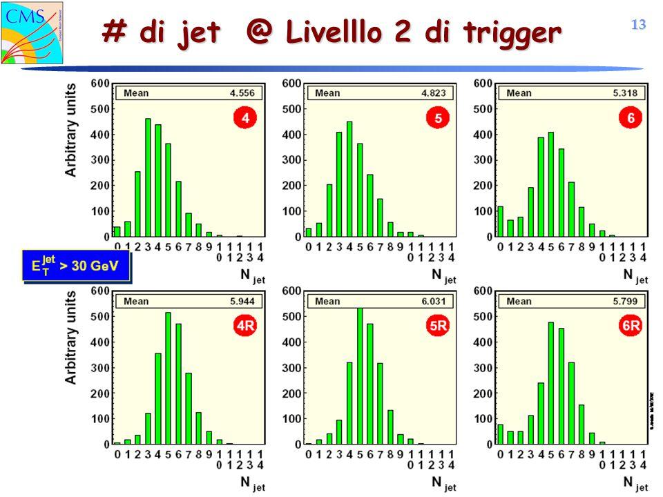 13 Simone Gennai Trigger per eventi SUSY ad LHC IFAE 2004 # di jet @ Livelllo 2 di trigger