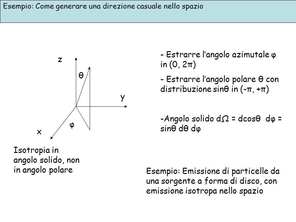 Esempio: Come generare una direzione casuale nello spazio x z y θ φ - Estrarre l'angolo azimutale φ in (0, 2π) - Estrarre l'angolo polare θ con distri