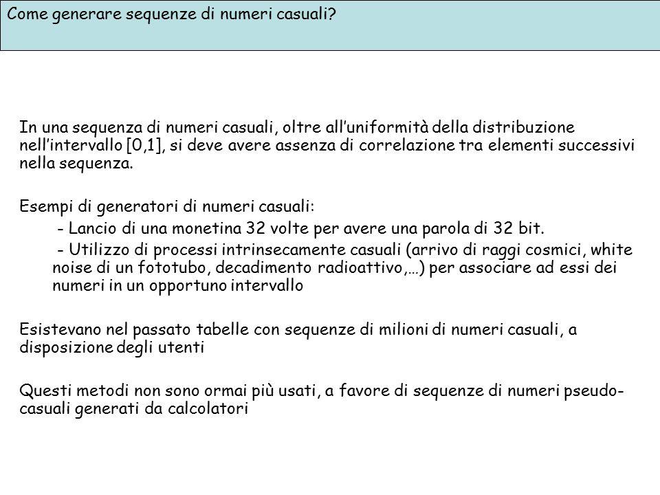 Come generare sequenze di numeri casuali? In una sequenza di numeri casuali, oltre all'uniformità della distribuzione nell'intervallo [0,1], si deve a