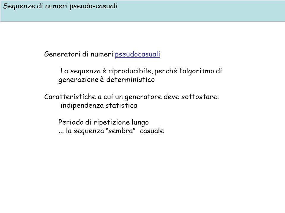Sequenze di numeri pseudo-casuali Generatori di numeri pseudocasuali La sequenza è riproducibile, perché l'algoritmo di generazione è deterministico C