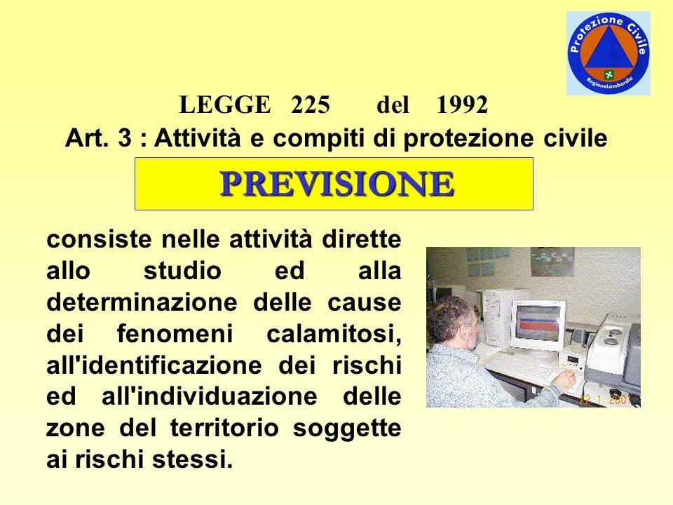 LEGGE 225 del 1992 Art. 3 : Attività e compiti di protezione civile PREVISIONE consiste nelle attività dirette allo studio ed alla determinazione dell