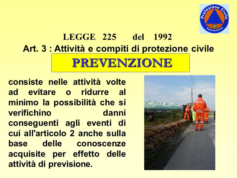 LEGGE 225 del 1992 Art. 3 : Attività e compiti di protezione civile PREVENZIONE consiste nelle attività volte ad evitare o ridurre al minimo la possib