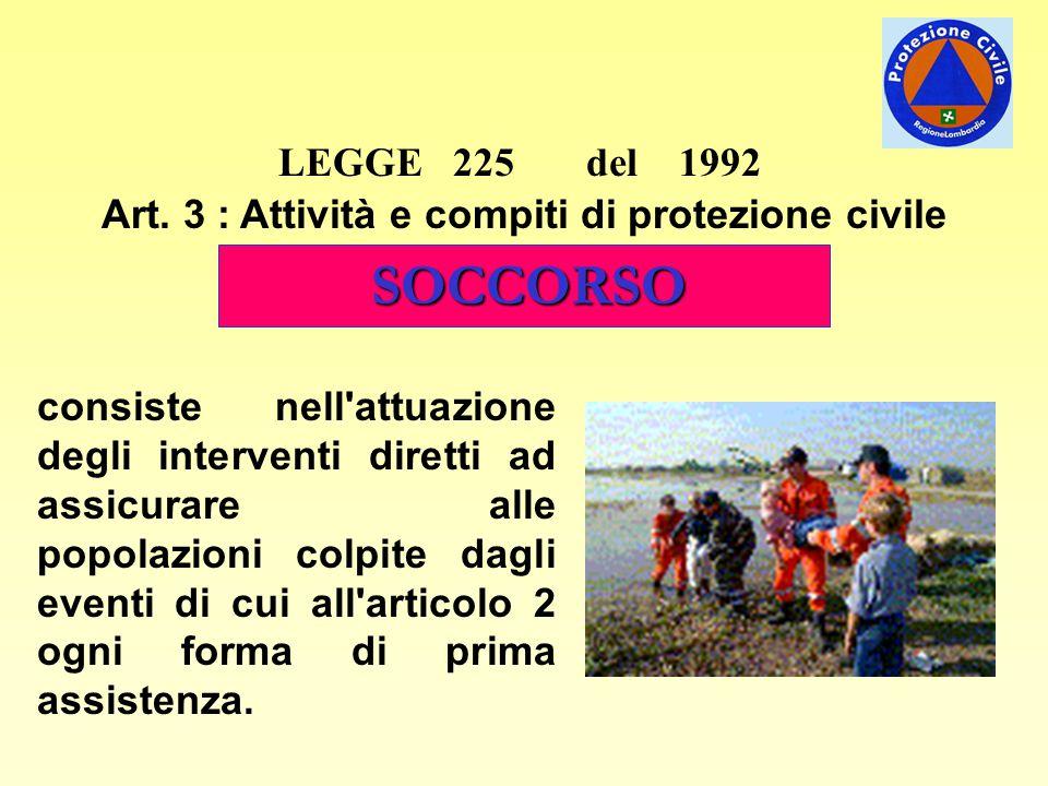 LEGGE 225 del 1992 Art. 3 : Attività e compiti di protezione civile SOCCORSO consiste nell'attuazione degli interventi diretti ad assicurare alle popo