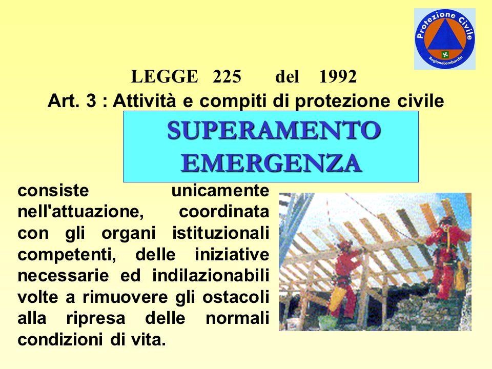 LEGGE 225 del 1992 Art. 3 : Attività e compiti di protezione civile consiste unicamente nell'attuazione, coordinata con gli organi istituzionali compe