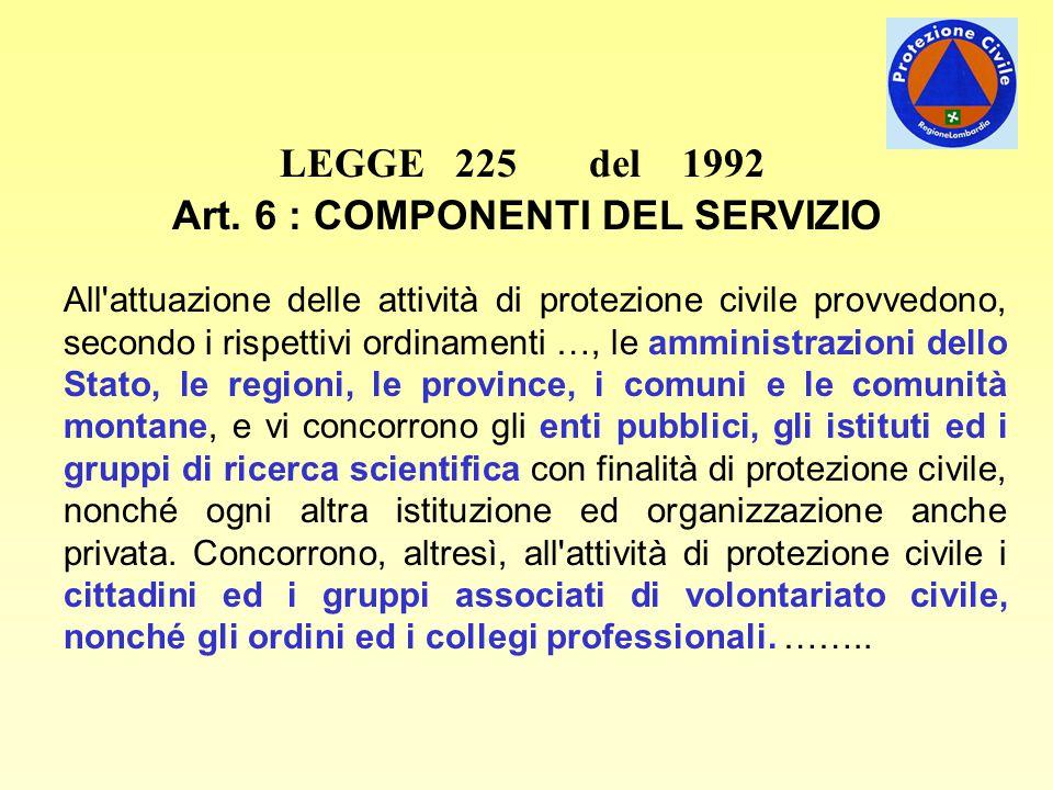 LEGGE 225 del 1992 Art. 6 : COMPONENTI DEL SERVIZIO All'attuazione delle attività di protezione civile provvedono, secondo i rispettivi ordinamenti …,