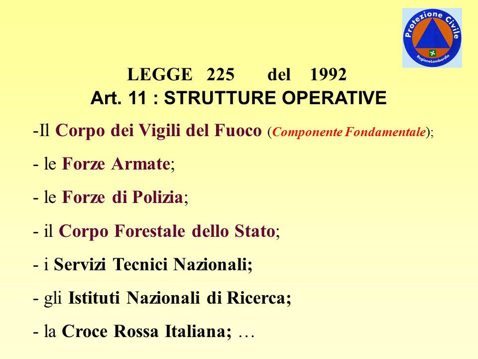 LEGGE 225 del 1992 Art. 11 : STRUTTURE OPERATIVE -Il Corpo dei Vigili del Fuoco (Componente Fondamentale); - le Forze Armate; - le Forze di Polizia; -