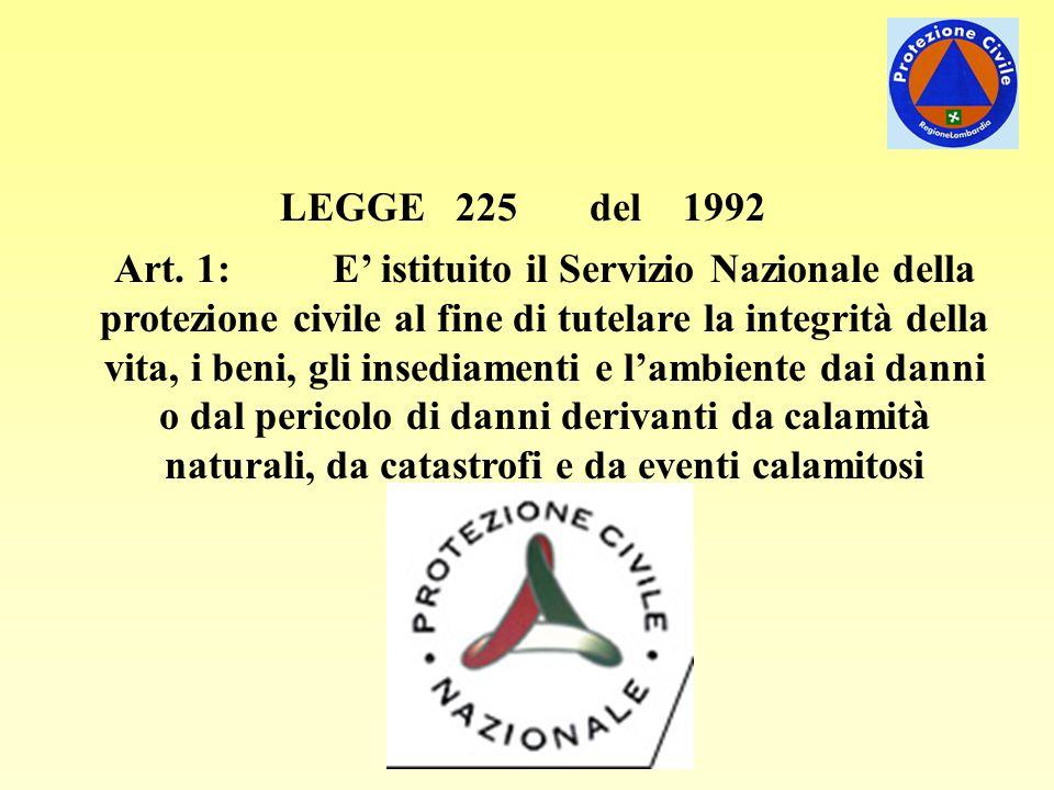 LEGGE 225 del 1992 Art. 1: E' istituito il Servizio Nazionale della protezione civile al fine di tutelare la integrità della vita, i beni, gli insedia