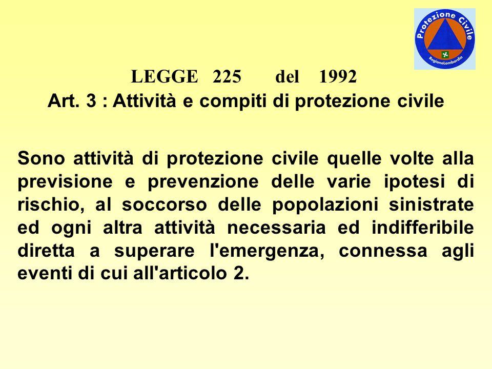 LEGGE 225 del 1992 Art. 3 : Attività e compiti di protezione civile Sono attività di protezione civile quelle volte alla previsione e prevenzione dell