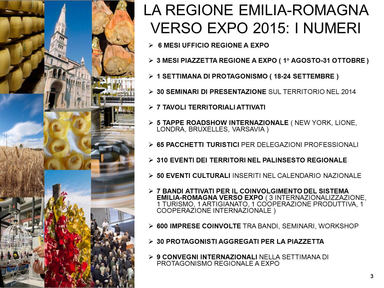 LA REGIONE EMILIA-ROMAGNA VERSO EXPO 2015: I NUMERI  6 MESI UFFICIO REGIONE A EXPO  3 MESI PIAZZETTA REGIONE A EXPO ( 1° AGOSTO-31 OTTOBRE )  1 SET