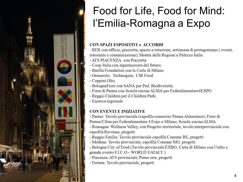 Food for Life, Food for Mind: l'Emilia-Romagna a Expo CON SPAZI ESPOSITIVI o ACCORDI - RER con ufficio, piazzetta, spazio a rotazione, settimana di pr
