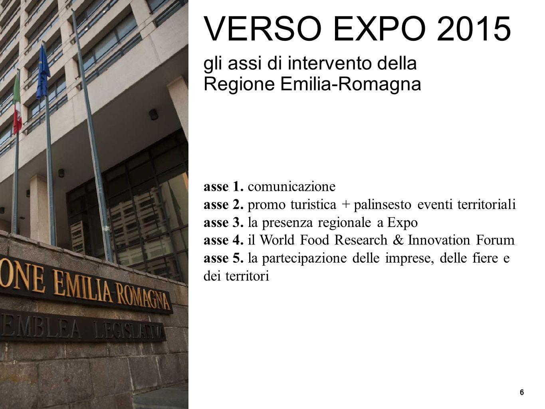 VERSO EXPO 2015 gli assi di intervento della Regione Emilia-Romagna asse 1. comunicazione asse 2. promo turistica + palinsesto eventi territoriali ass