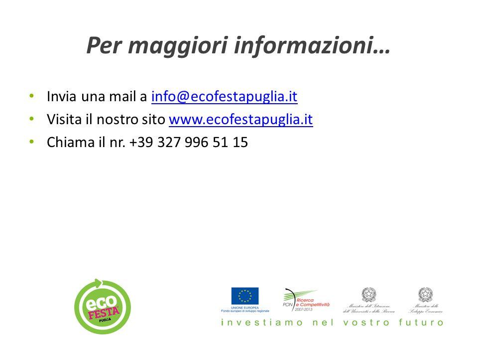 Per maggiori informazioni… Invia una mail a info@ecofestapuglia.itinfo@ecofestapuglia.it Visita il nostro sito www.ecofestapuglia.itwww.ecofestapuglia.it Chiama il nr.