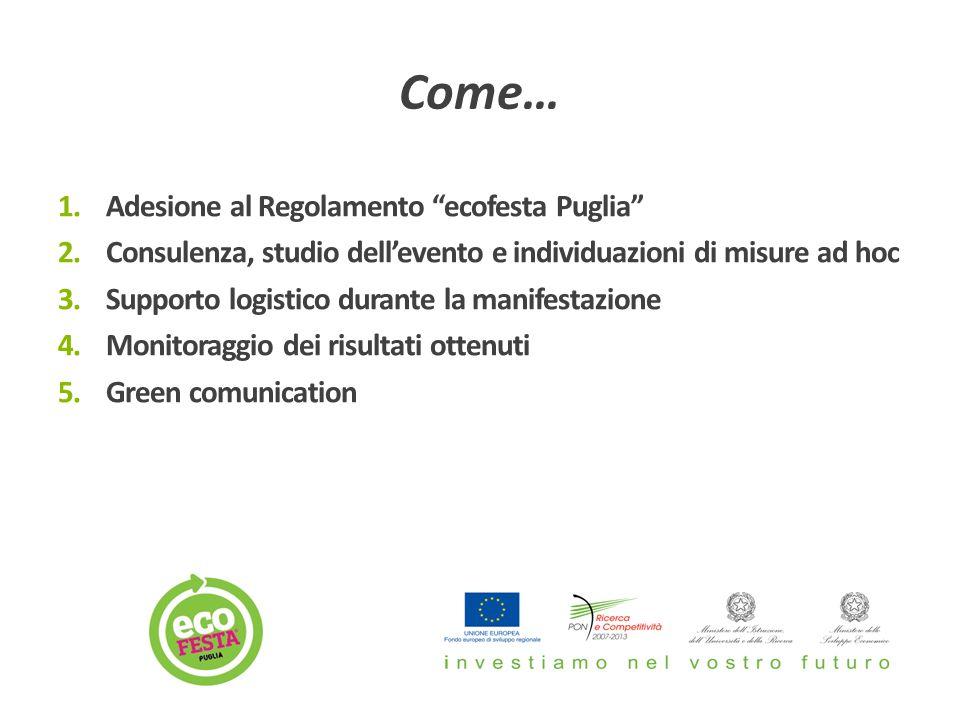 1.Adesione al Regolamento ecofesta Puglia 2.Consulenza, studio dell'evento e individuazioni di misure ad hoc 3.Supporto logistico durante la manifestazione 4.Monitoraggio dei risultati ottenuti 5.Green comunication Come…