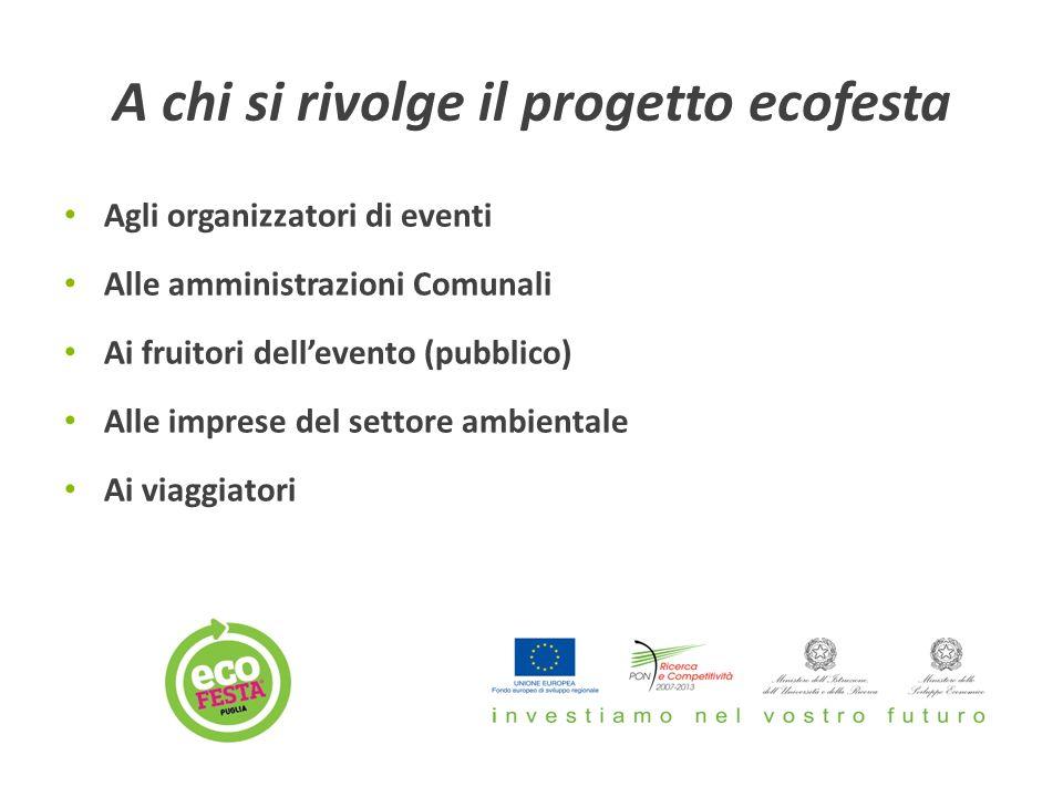 A chi si rivolge il progetto ecofesta Agli organizzatori di eventi Alle amministrazioni Comunali Ai fruitori dell'evento (pubblico) Alle imprese del settore ambientale Ai viaggiatori