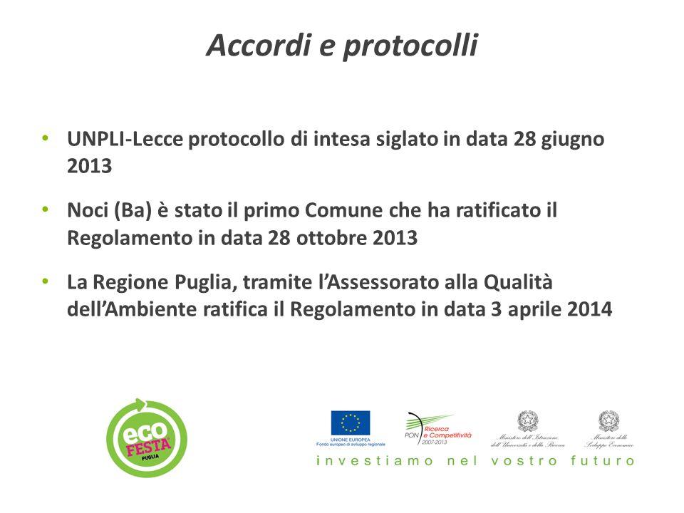 Accordi e protocolli UNPLI-Lecce protocollo di intesa siglato in data 28 giugno 2013 Noci (Ba) è stato il primo Comune che ha ratificato il Regolamento in data 28 ottobre 2013 La Regione Puglia, tramite l'Assessorato alla Qualità dell'Ambiente ratifica il Regolamento in data 3 aprile 2014