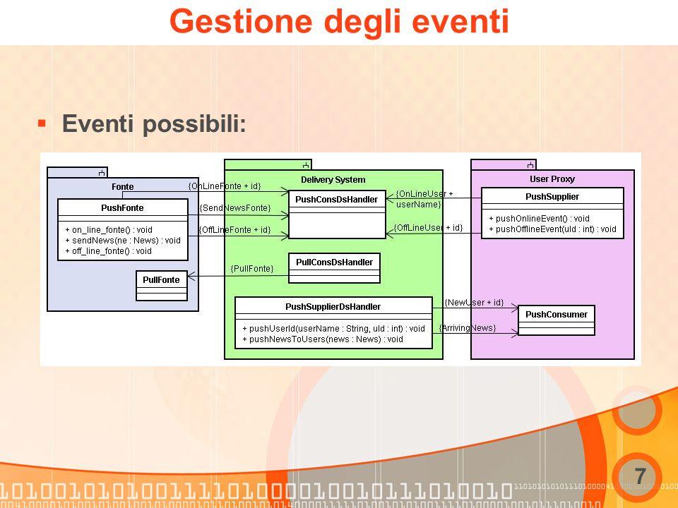 7 Gestione degli eventi  Eventi possibili: