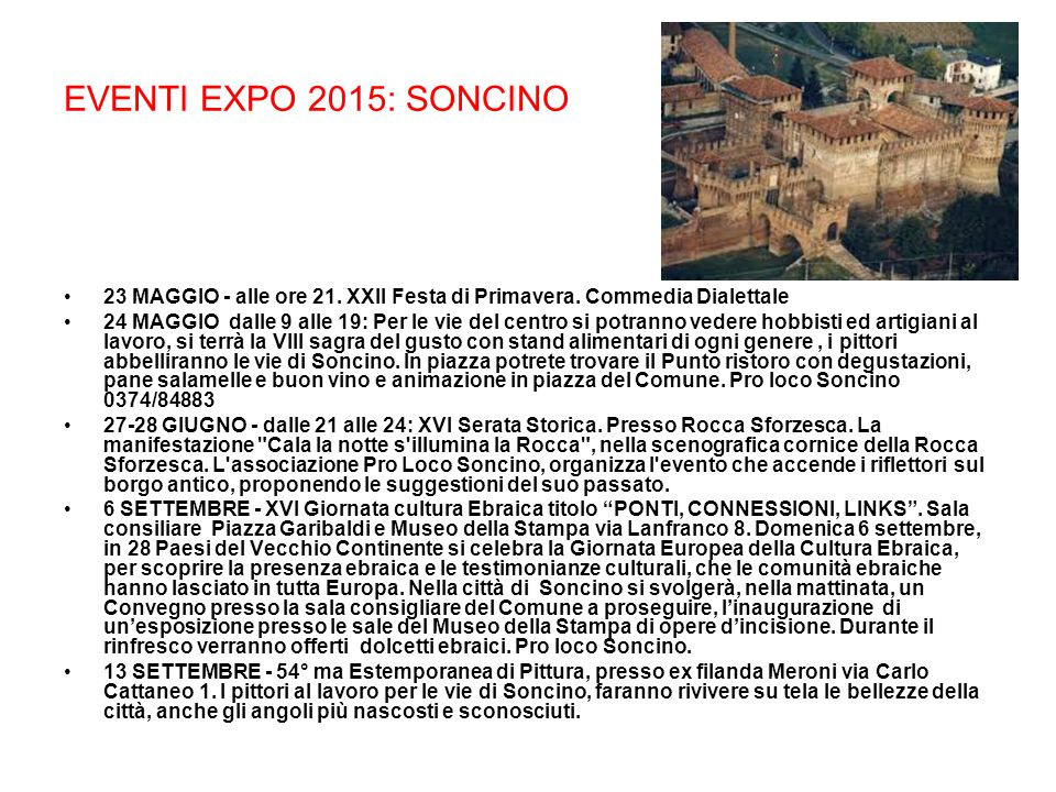 EVENTI EXPO 2015: SONCINO 23 MAGGIO - alle ore 21.