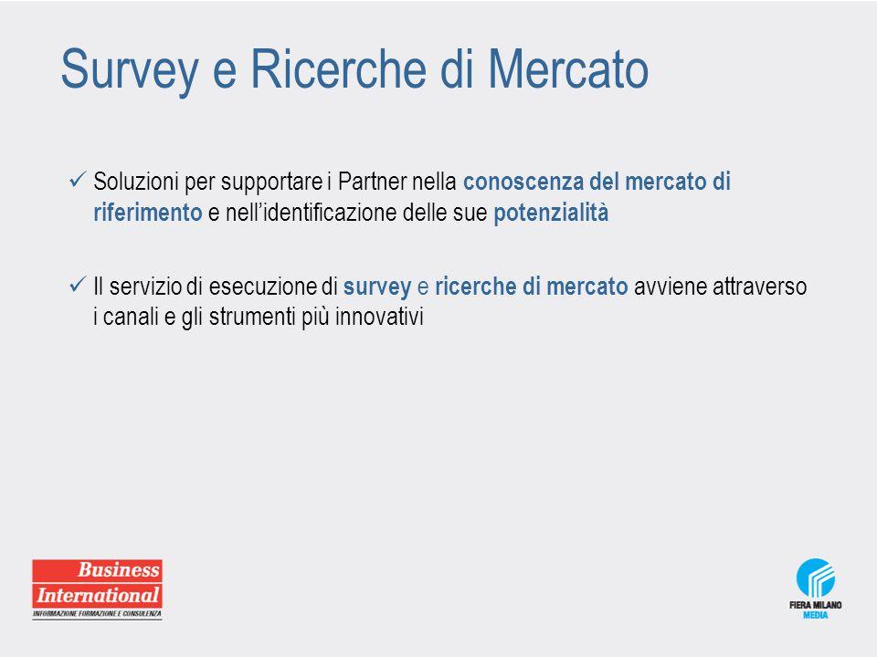 Survey e Ricerche di Mercato Soluzioni per supportare i Partner nella conoscenza del mercato di riferimento e nell'identificazione delle sue potenzial