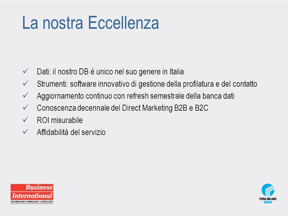 La nostra Eccellenza Dati: il nostro DB è unico nel suo genere in Italia Strumenti: software innovativo di gestione della profilatura e del contatto A
