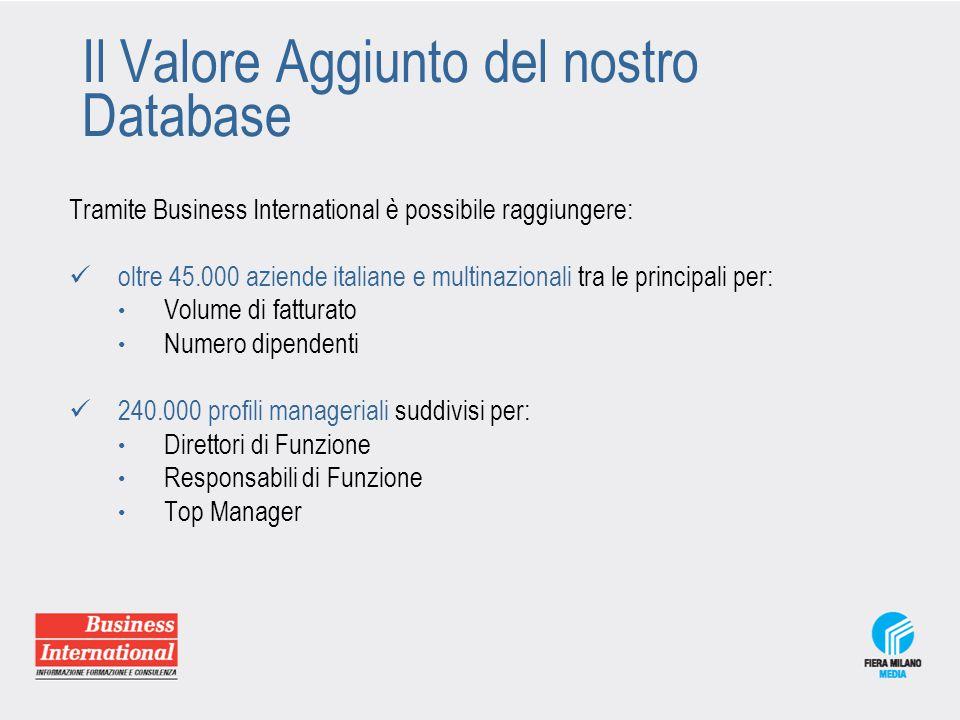 Il Valore Aggiunto del nostro Database Tramite Business International è possibile raggiungere: oltre 45.000 aziende italiane e multinazionali tra le p