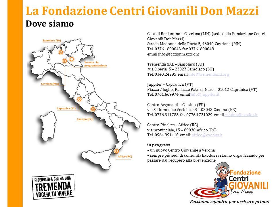 La Fondazione Centri Giovanili Don Mazzi Dove siamo Casa di Beniamino – Cavriana (MN) (sede della Fondazione Centri Giovanili Don Mazzi) Strada Madonn