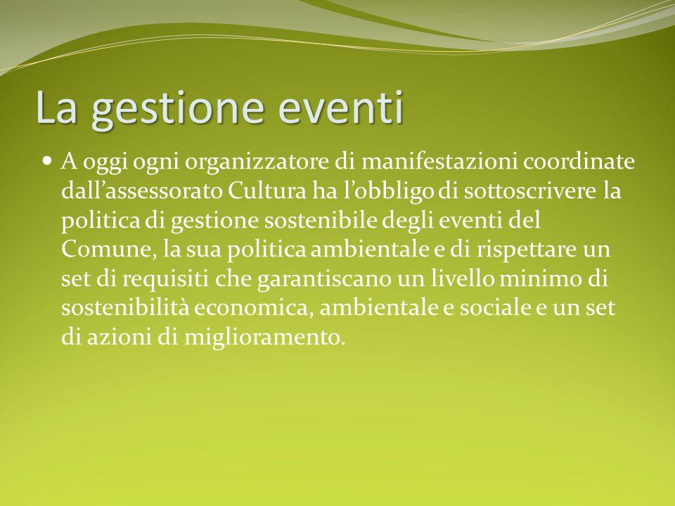La gestione eventi A oggi ogni organizzatore di manifestazioni coordinate dall'assessorato Cultura ha l'obbligo di sottoscrivere la politica di gestio