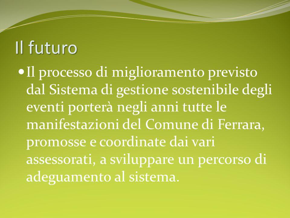 Il futuro Il processo di miglioramento previsto dal Sistema di gestione sostenibile degli eventi porterà negli anni tutte le manifestazioni del Comune