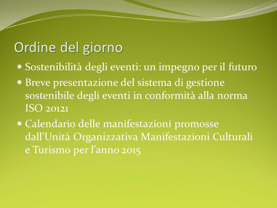 Ordine del giorno Sostenibilità degli eventi: un impegno per il futuro Breve presentazione del sistema di gestione sostenibile degli eventi in conformità alla norma ISO 20121 Calendario delle manifestazioni promosse dall'Unità Organizzativa Manifestazioni Culturali e Turismo per l'anno 2015