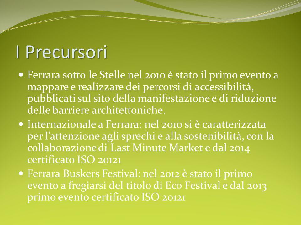 I Precursori Ferrara sotto le Stelle nel 2010 è stato il primo evento a mappare e realizzare dei percorsi di accessibilità, pubblicati sul sito della