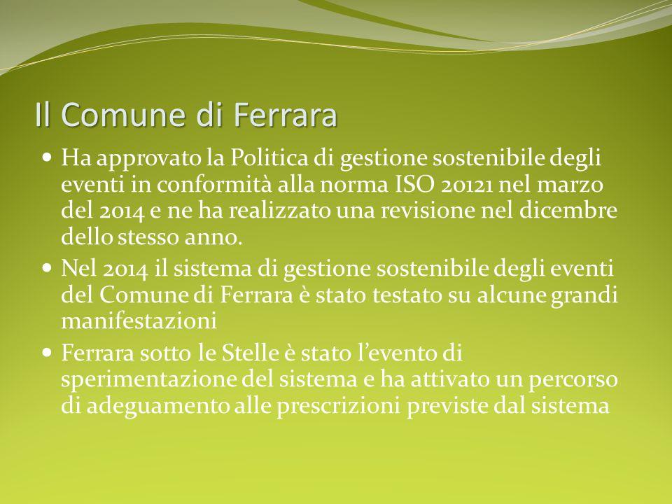 Il Comune di Ferrara Ha approvato la Politica di gestione sostenibile degli eventi in conformità alla norma ISO 20121 nel marzo del 2014 e ne ha reali