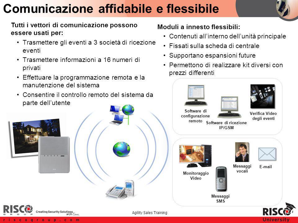 Agility Sales Training Comunicazione affidabile e flessibile Tutti i vettori di comunicazione possono essere usati per: Trasmettere gli eventi a 3 soc