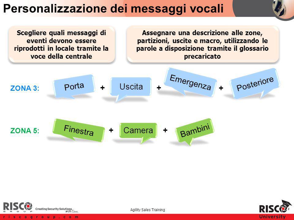 Agility Sales Training Porta Personalizzazione dei messaggi vocali + ++ ZONA 3: ZONA 5: + + Assegnare una descrizione alle zone, partizioni, uscite e