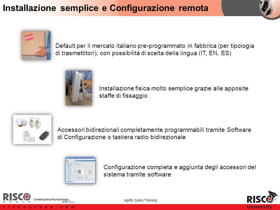 Agility Sales Training Default per il mercato italiano pre-programmato in fabbrica (per tipologia di trasmettitori), con possibilità di scelta della l
