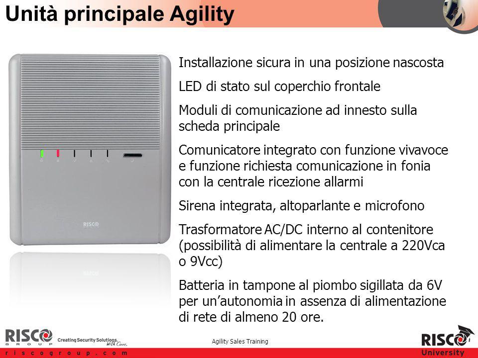 Agility Sales Training Unità principale Agility Installazione sicura in una posizione nascosta LED di stato sul coperchio frontale Moduli di comunicaz