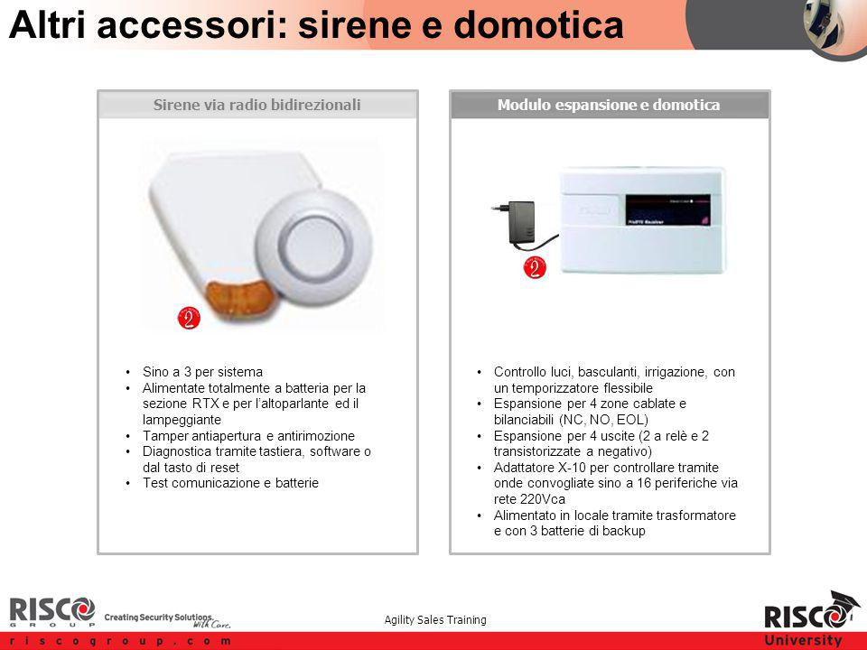 Agility Sales Training Modulo espansione e domoticaSirene via radio bidirezionali Altri accessori: sirene e domotica Sino a 3 per sistema Alimentate t