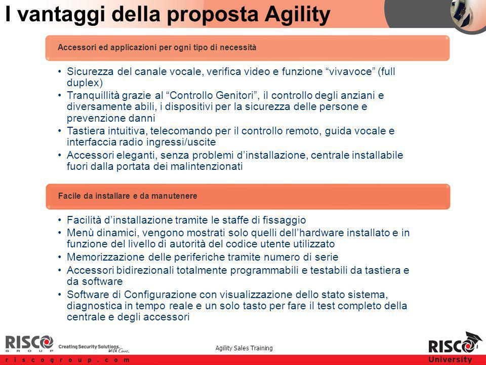 """Agility Sales Training I vantaggi della proposta Agility Sicurezza del canale vocale, verifica video e funzione """"vivavoce"""" (full duplex) Tranquillità"""
