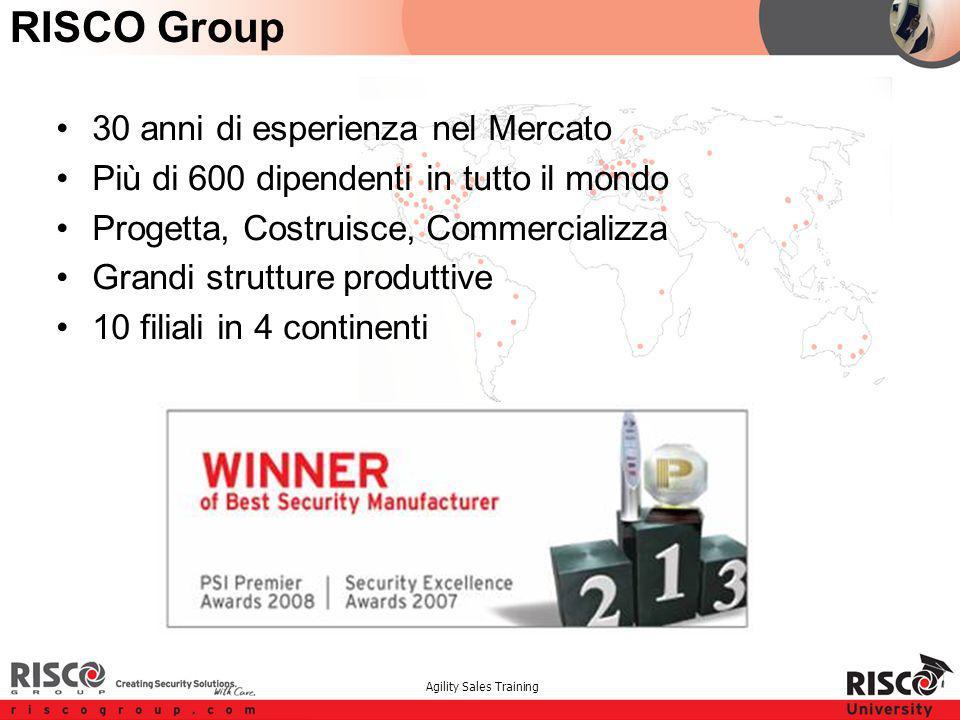 Agility Sales Training RISCO Group 30 anni di esperienza nel Mercato Più di 600 dipendenti in tutto il mondo Progetta, Costruisce, Commercializza Grandi strutture produttive 10 filiali in 4 continenti