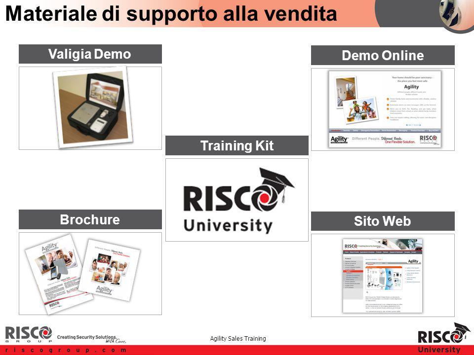 Agility Sales Training Materiale di supporto alla vendita Brochure Demo Online Sito Web Replace with better picture Training Kit Valigia Demo
