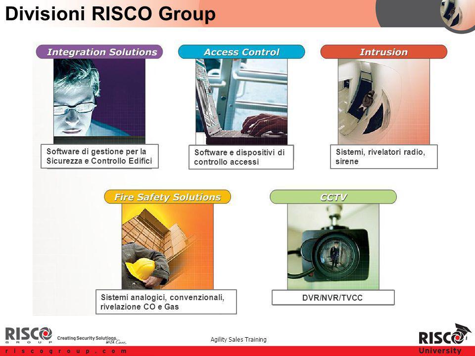 Agility Sales Training Divisioni RISCO Group Software di gestione per la Sicurezza e Controllo Edifici Software e dispositivi di controllo accessi Sis